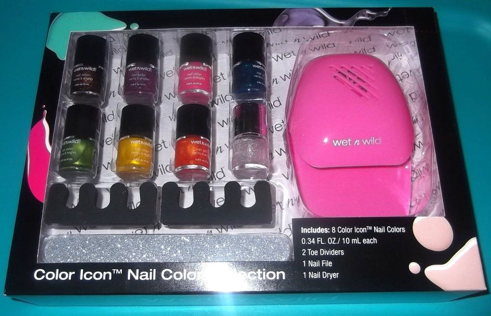 WET n WILD 12 Pc Color Icon Nail Polish Dryer File Toe Dividers Gift ...