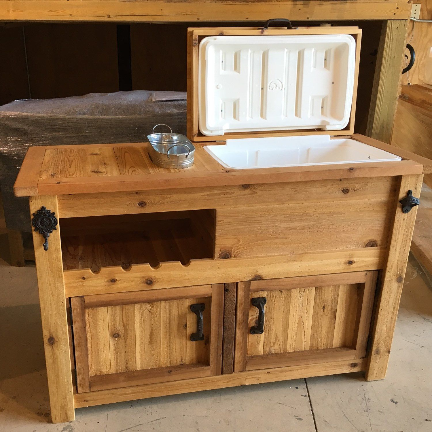 Rustic Wooden Cooler Cabinet With Wine Rack & Chill Tub