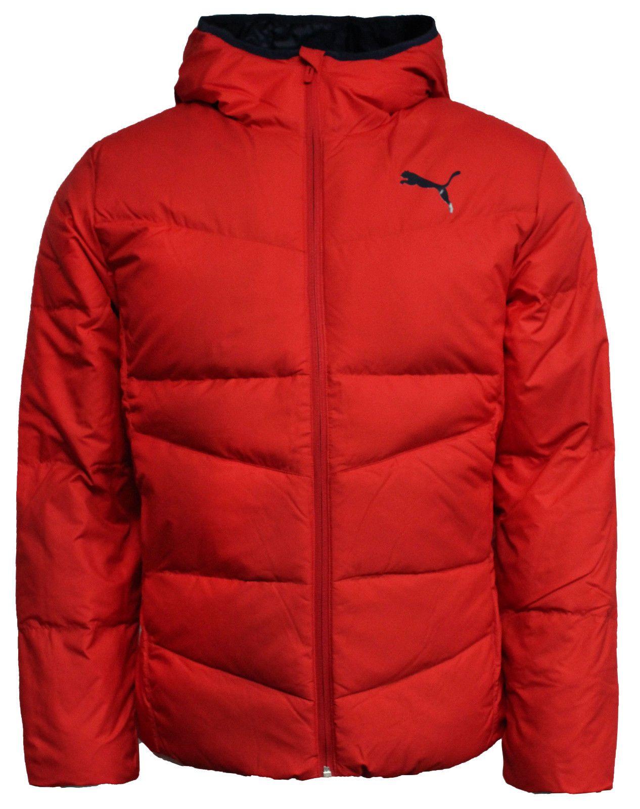 Puma Mens Zip Up Hooded Red Jacket Down Filled Puffer Coat 838642 09 M16 Tech Fleece Hoodie Red Jacket Men S Coats Jackets [ 1600 x 1266 Pixel ]