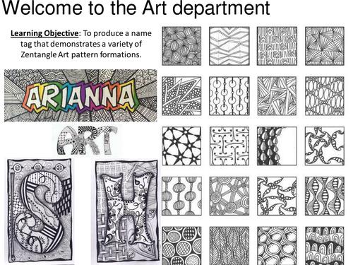 Zentangle Name Tag Zentangle Zentangle Patterns Elementary Art