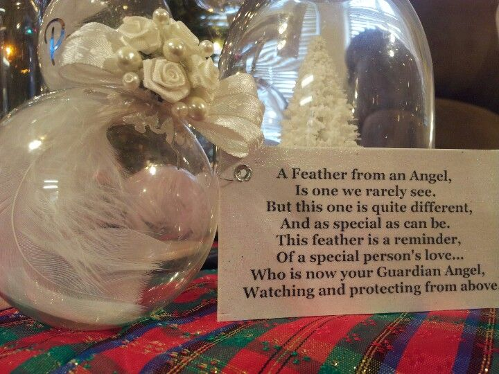 Guardian angel feather ornament and poem my mother s
