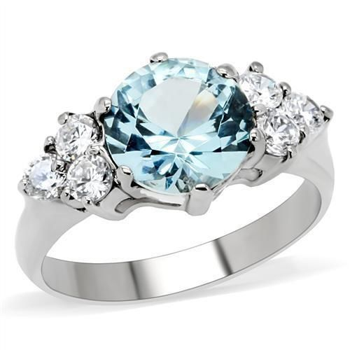 London Blue and Clear CZ Stainless Steel Ring