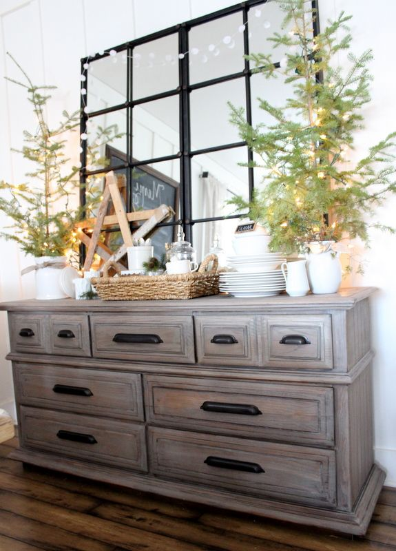 Dresser Renovation Buffet Driftwood Stain Mirrors In Dining RoomLiving
