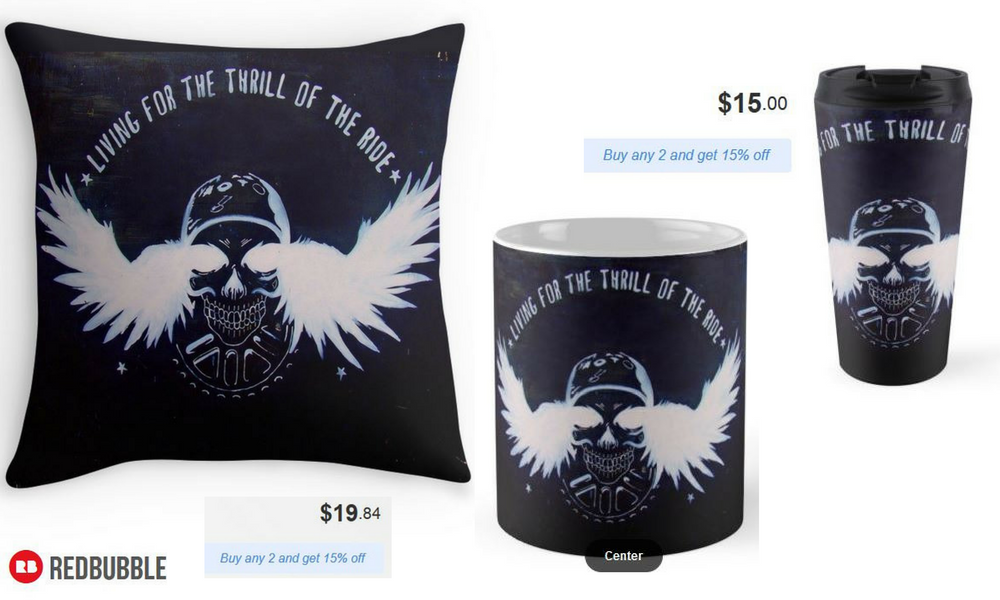 'Living for the Thrill of the Ride' Throw Pillow, Mug and Travel Mug #artbyurte