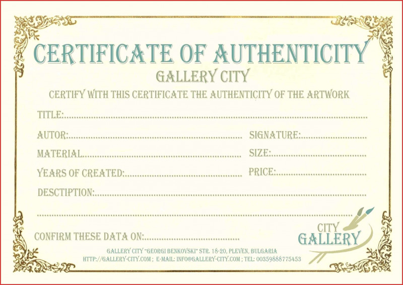 Certificate Of Authenticity Template Awesome 012 Certificate Of Authenticity Template Free Ide Certificate Templates Birth Certificate Template Art Certificate