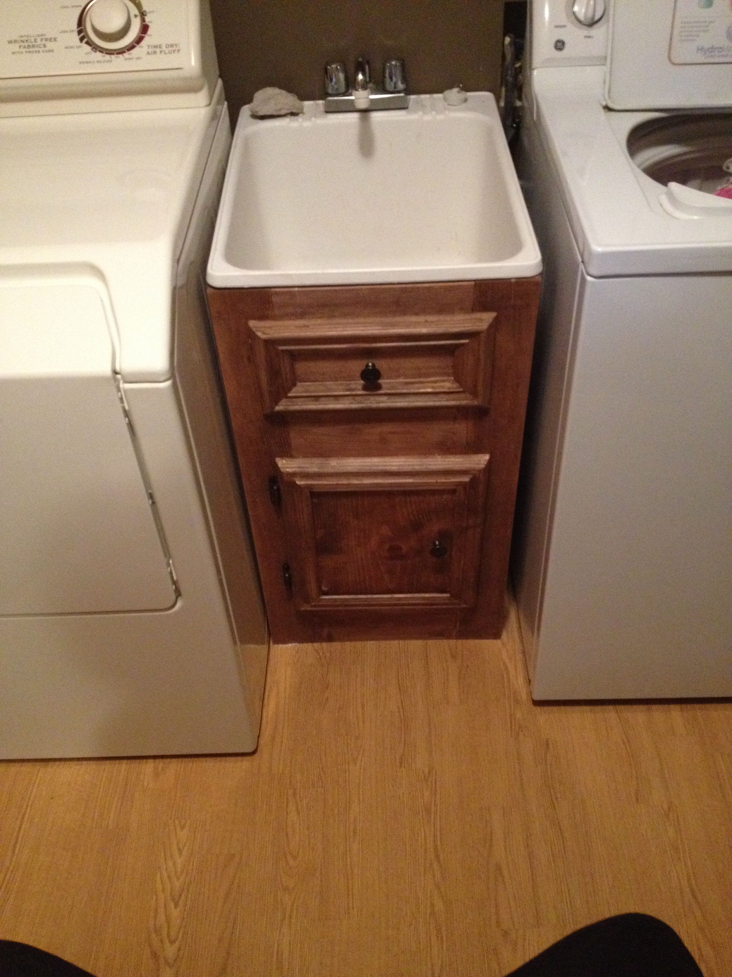 Built A Cabinet Around A Utility Sink Laundry Room Sink Laundry Sink Utility Sink