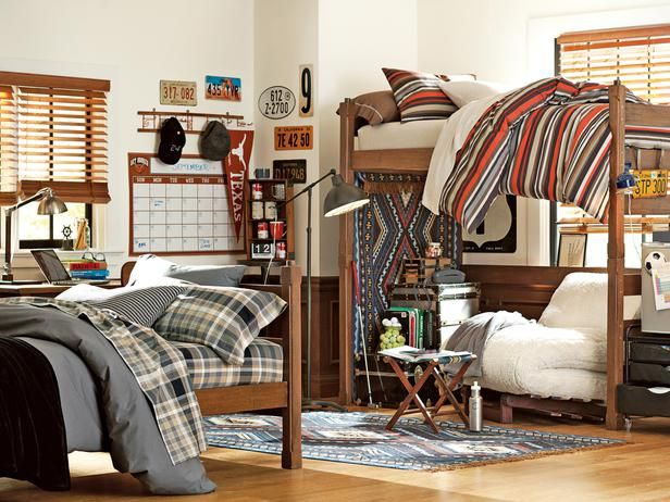 Most dorm room bunk beds offer the capability of lofting. This option frees up valuable floor space below the bunk for studying, lounging or storage. Once the bottom bunk is removed, you can add a futon, desk or storage containers. In this dorm room design, the bunk wasn't lofted out of necessity, but mostly out of the desire for a cozy lounging spot. Photo courtesy of PBdorm