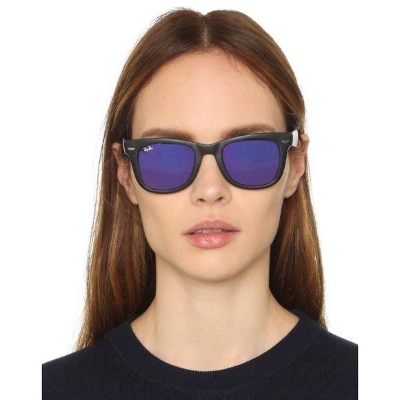 Ray Ban Wayfarer Mirrored Purple Folding Glasses My Posh Picks