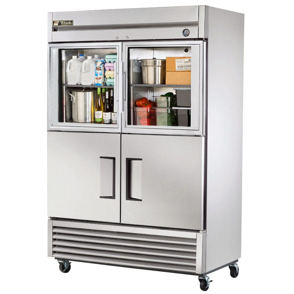 The true t 49 2 g 2 two section half door reach in refrigerator true combination half door reach in refrigerator with glass top doors and solid bottom doors planetlyrics Choice Image