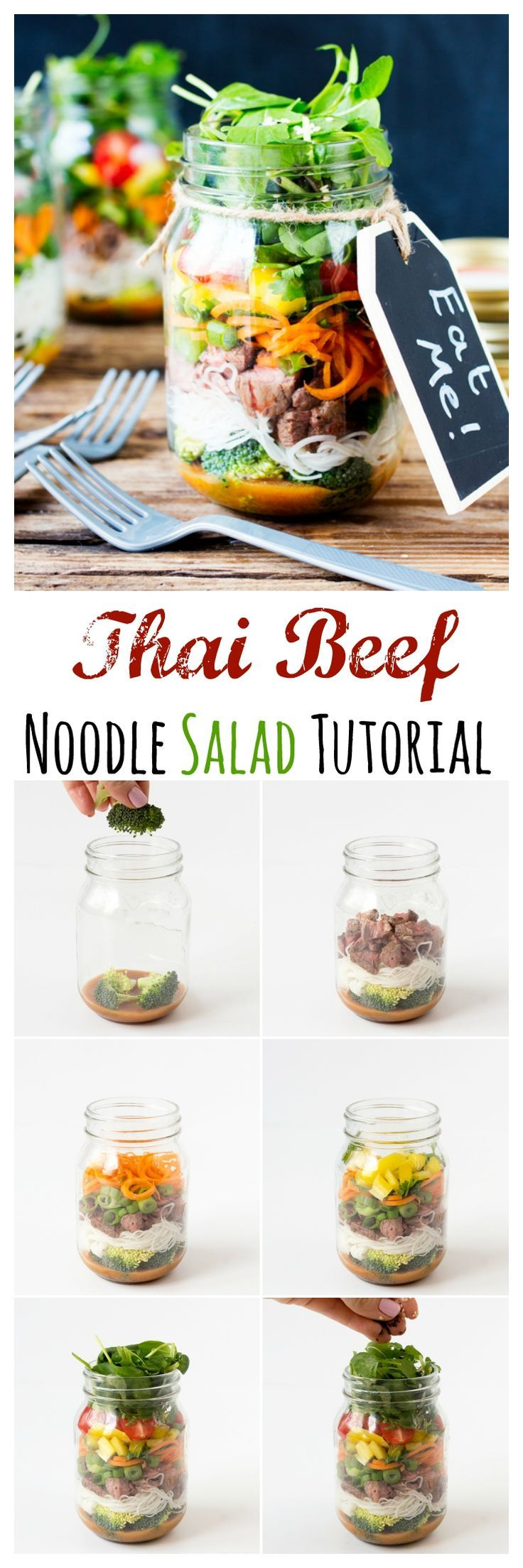 Thai Beef Noodle Salad Jar - way better than sandwiches for lunch!