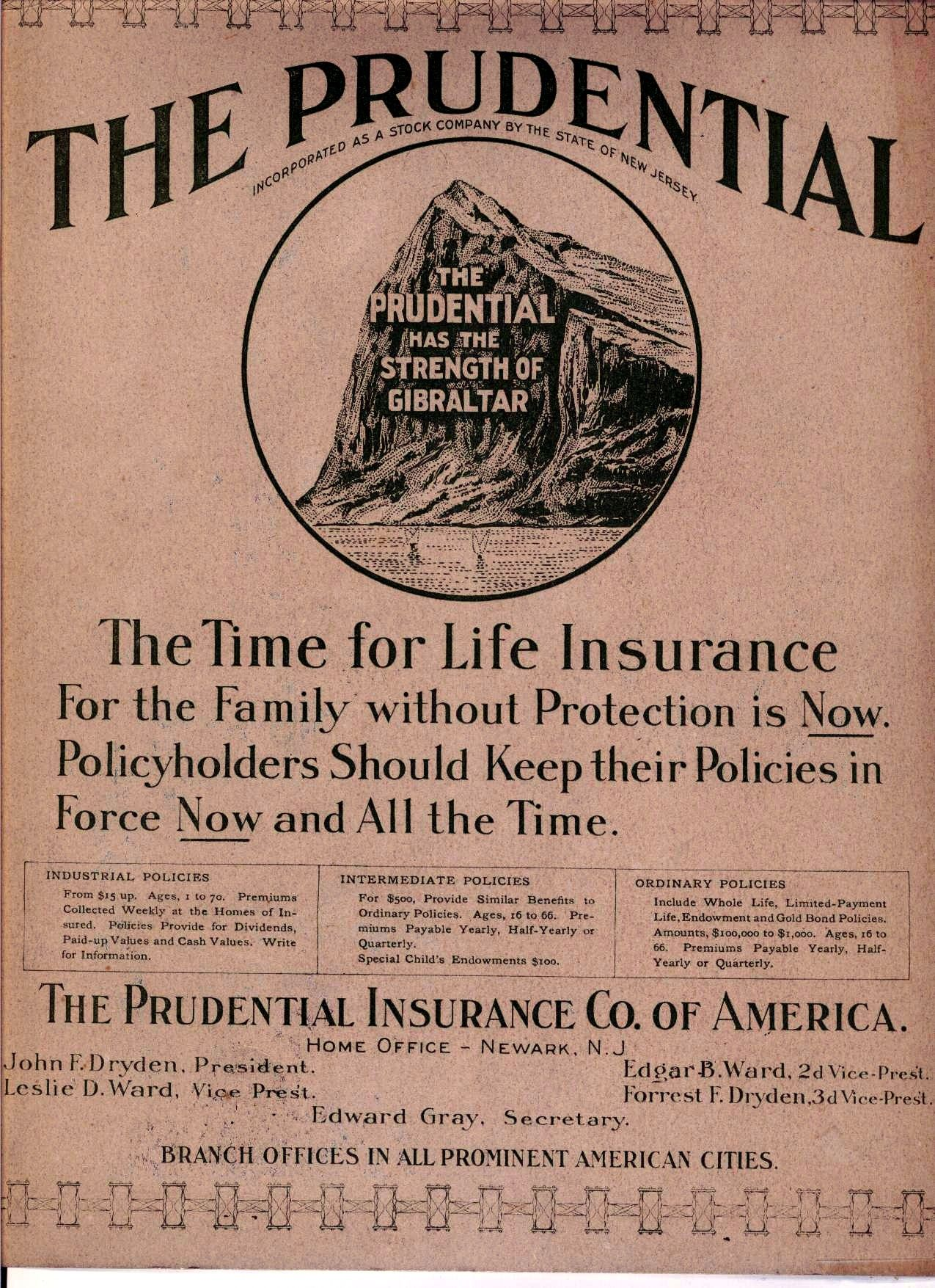 Back Of A 1905 Prudential Insurance Calendar Prudential