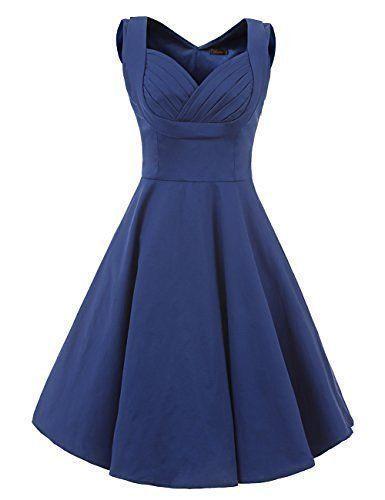 VianLa Size XS Women Blue 1950s V Neck Vintage Cut Out Party Cocktail Dress NWT #VianLa #SwingVintagePartySundressTeaDress #Cocktail