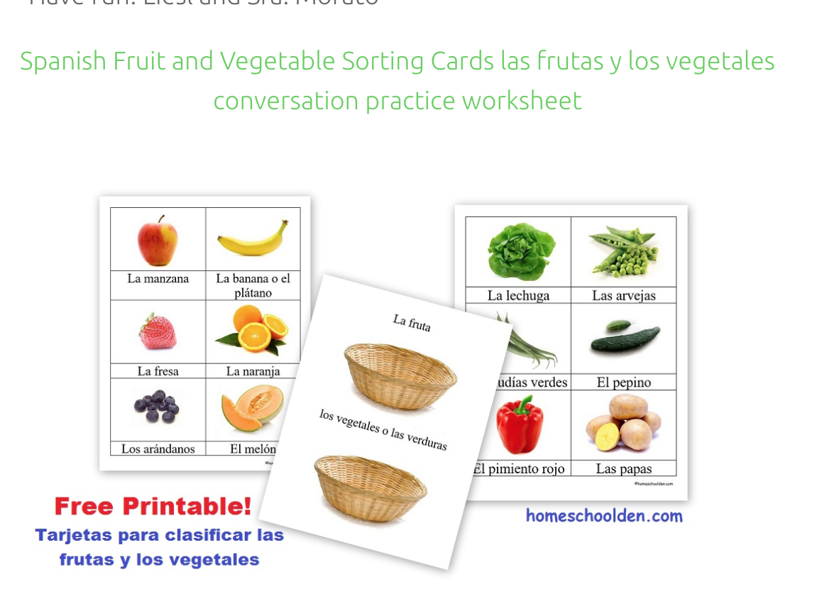 Spanish Fruit And Vegetable Cards Tarjetas Para