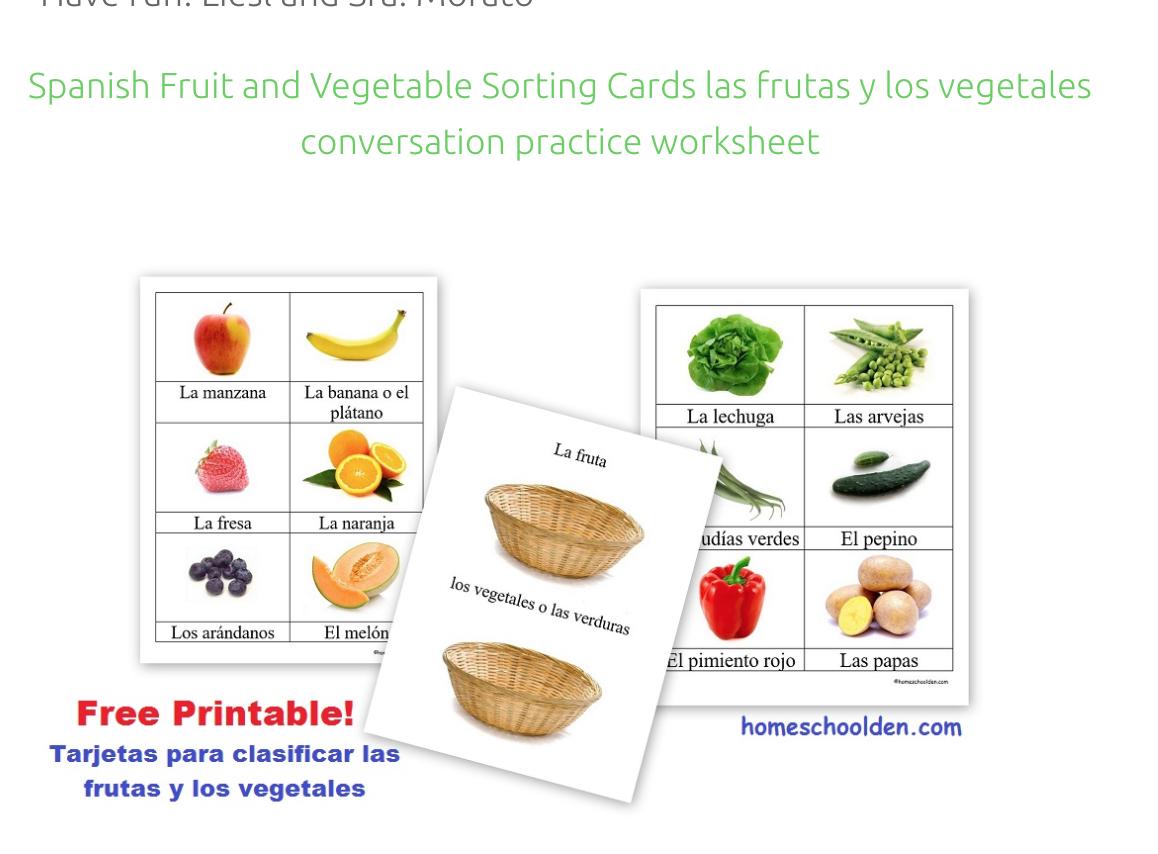 Spanish Fruit And Vegetable Cards Tarjetas Para