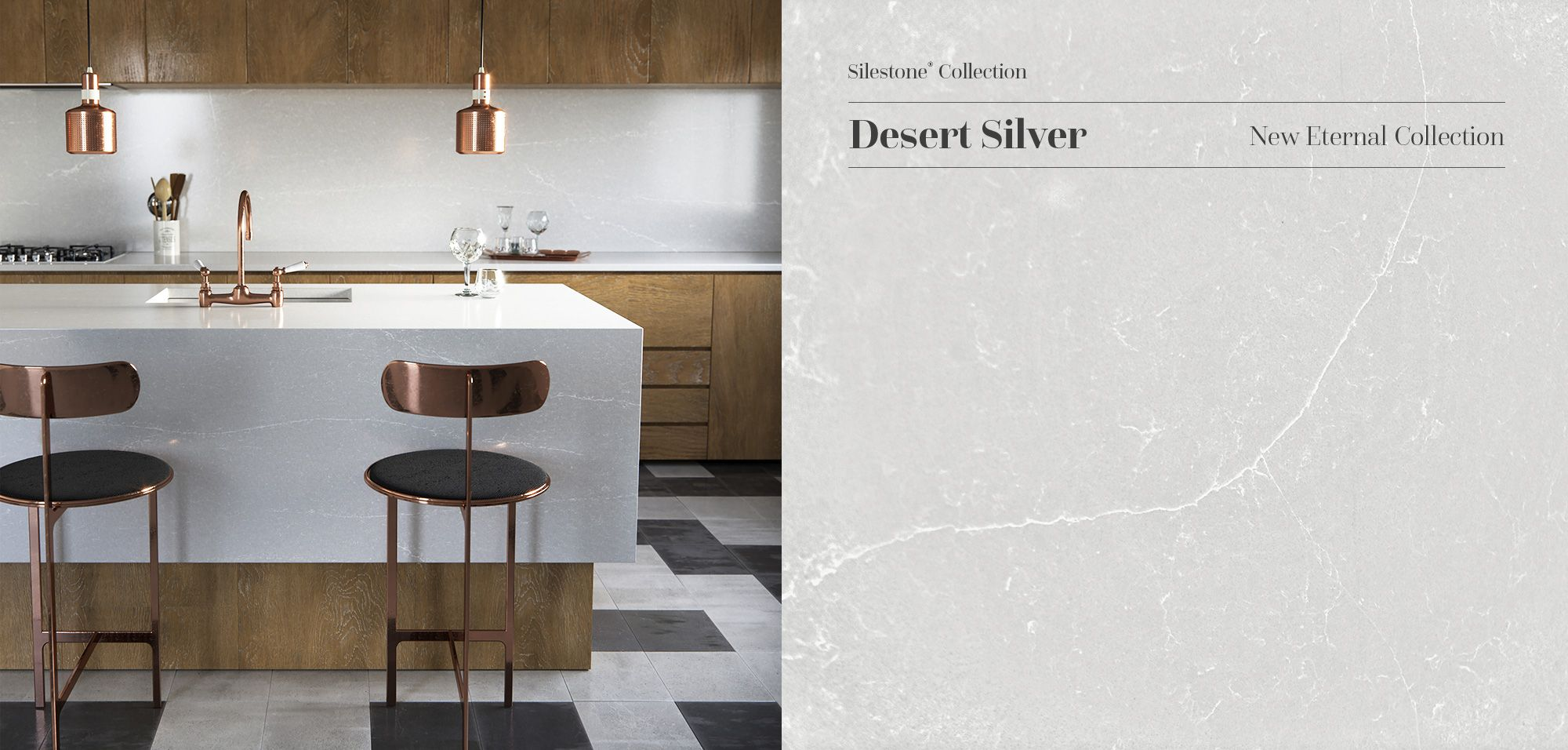 More monochromatic in its appearance, Silestone Desert Silver offers