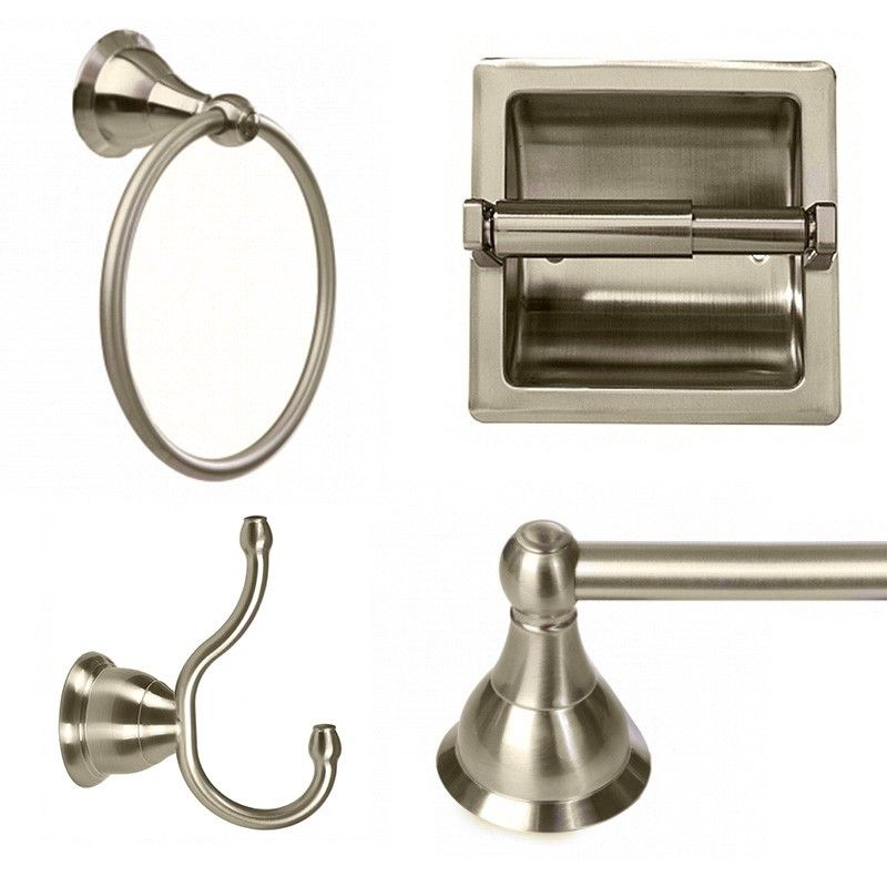 Arista 3602 Summit 4Piece Bathroom Hardware Set With Recessed Adorable Brushed Nickel Bathroom Accessories Inspiration