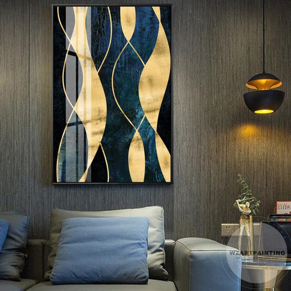 Geometric Abstract Gold Navy Blue Print Painting Luxury Wall Art Pictures On Canvas Ready To Hang For Living R Wall Art Pictures Framed Wall Art Large Wall Art