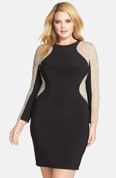 Plus Size Beaded Illusion Sleeve Jersey Body-Con Dress - Plus Size ...