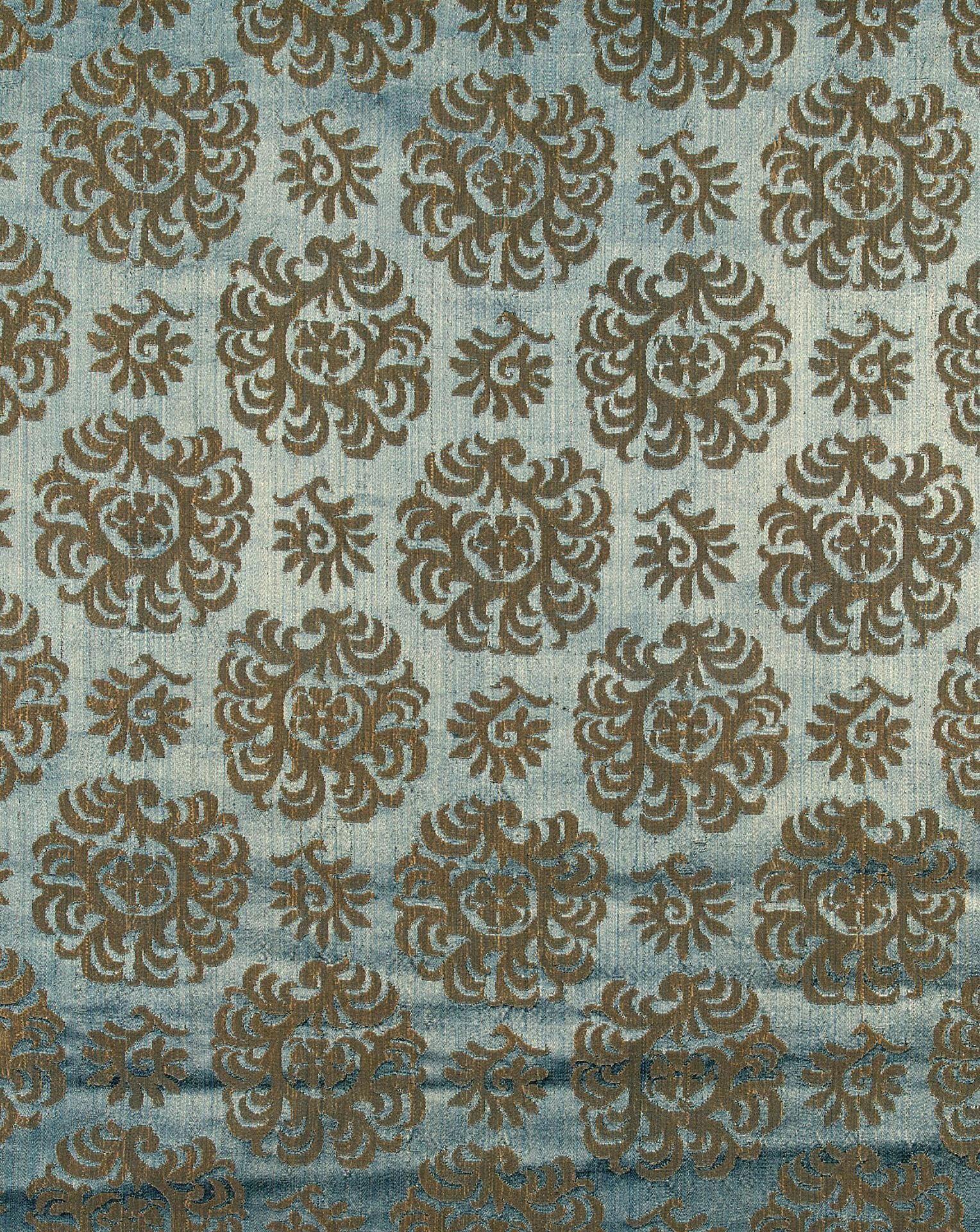 d953a12cb42 Title  Blue Fabric with Light Floral Pattern Place of creation  Italy Date   Late 15th - early 17th century Material  silk and damask Inventory Number   Т- ...