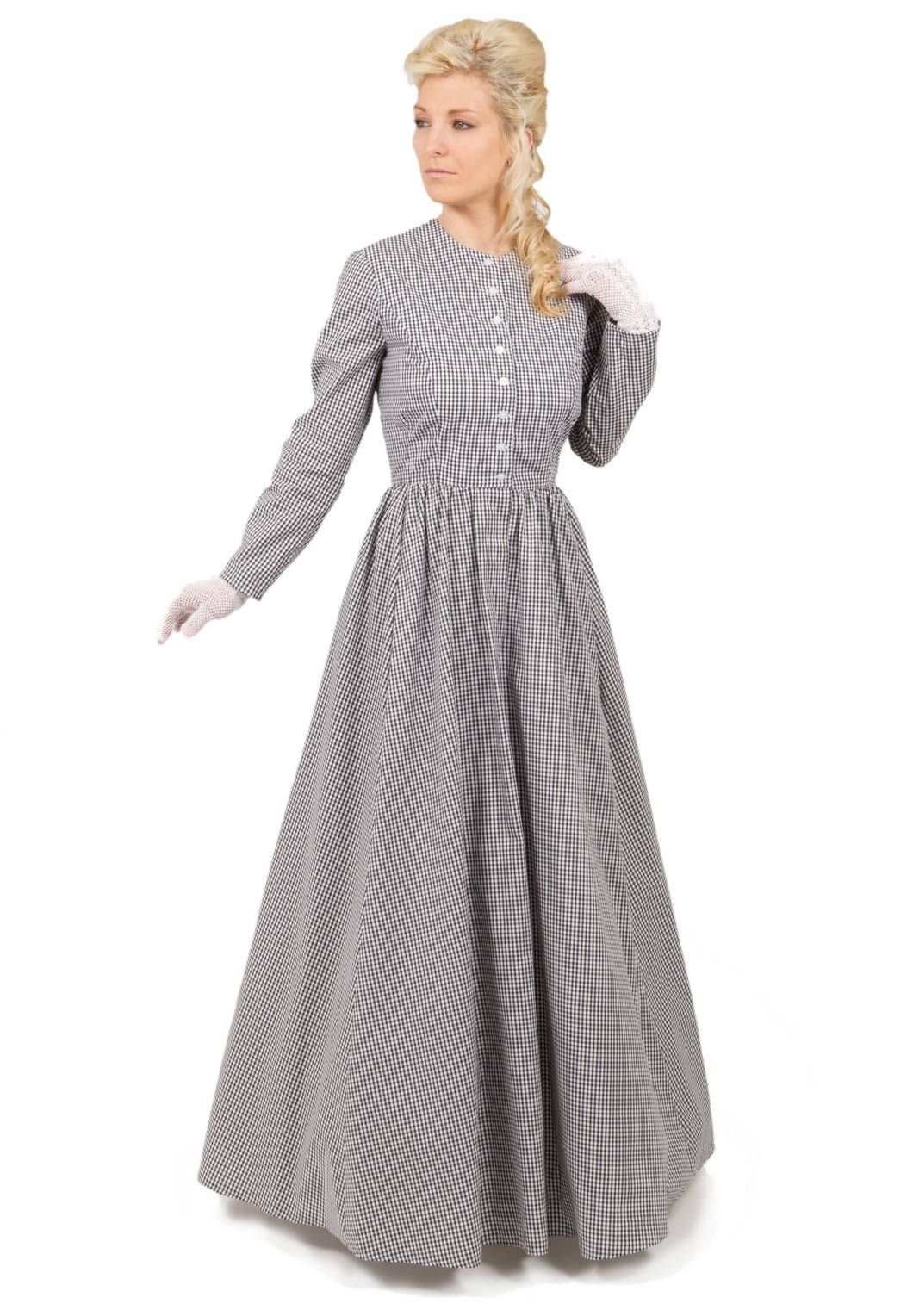 Traditional Victorian Calico Dress Has Ed Bodice With Front On Closure Simple Long Slim Sleeves Charming Full Three Gored Skirt