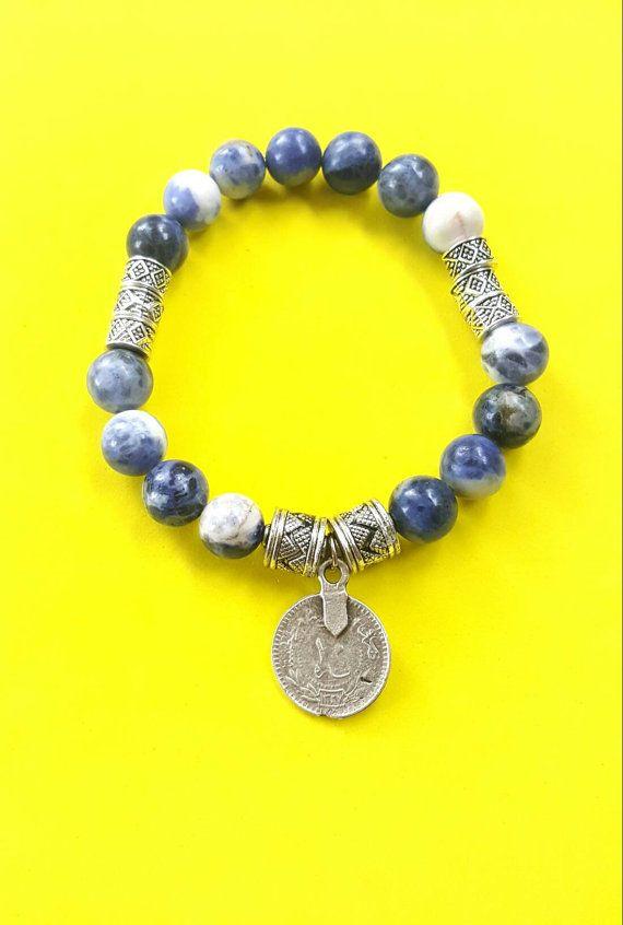 Beaded stretch bracelet with sodalite gemstone-silver by Absynia