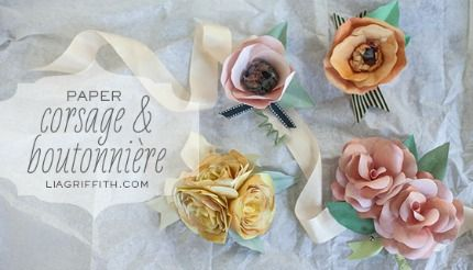Paper Flower Corsages Boutonnieres Tutorial Diy Weddings
