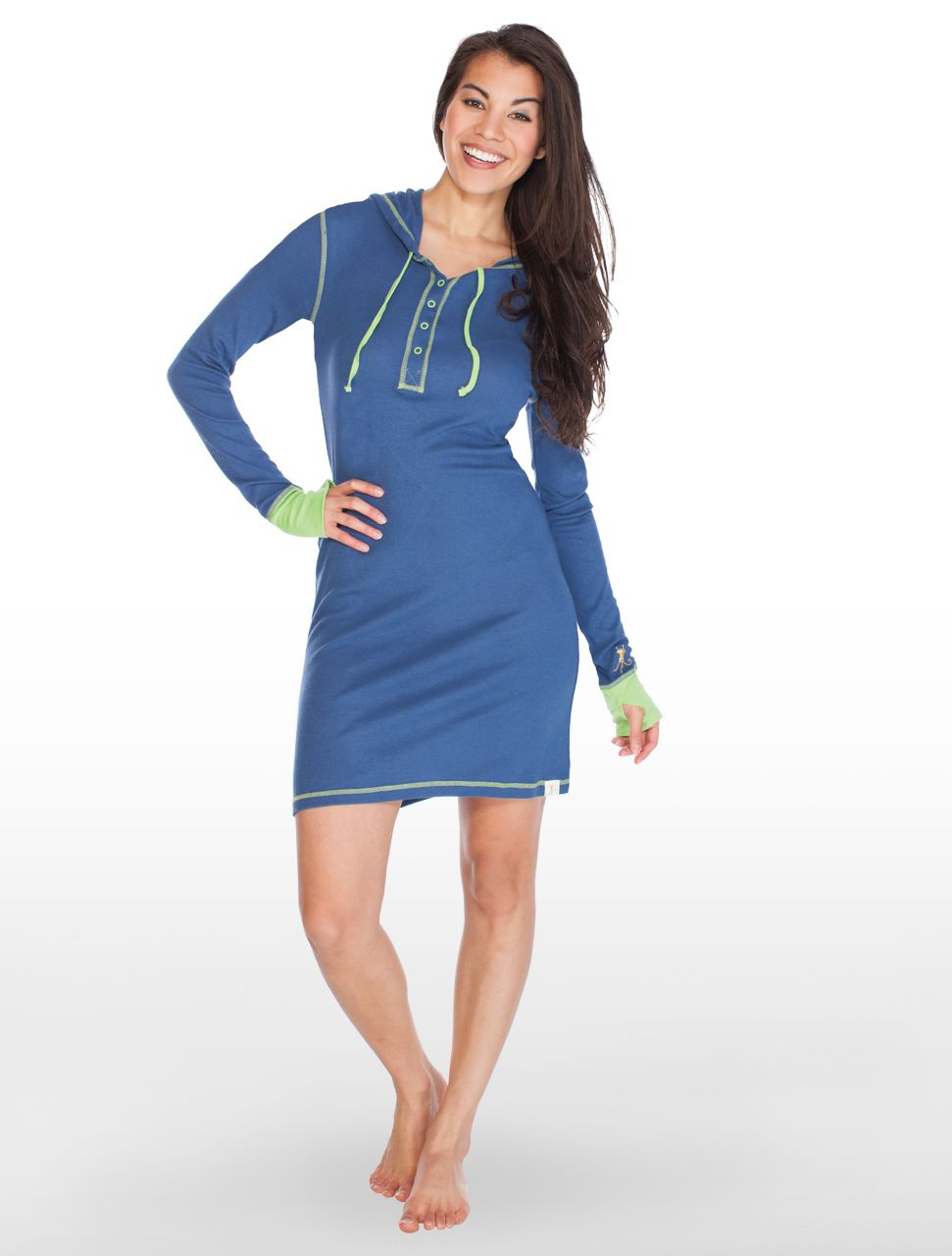 8c094add25d Navy with Green Long Sleeve Hooded Henley Nightshirt with Thumbholes - Munki  Munki