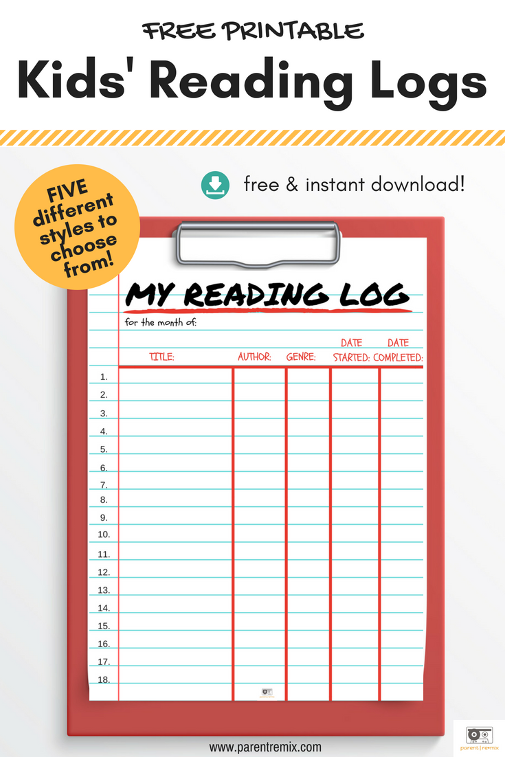 Get our free printable reading logs for kids! Give them a