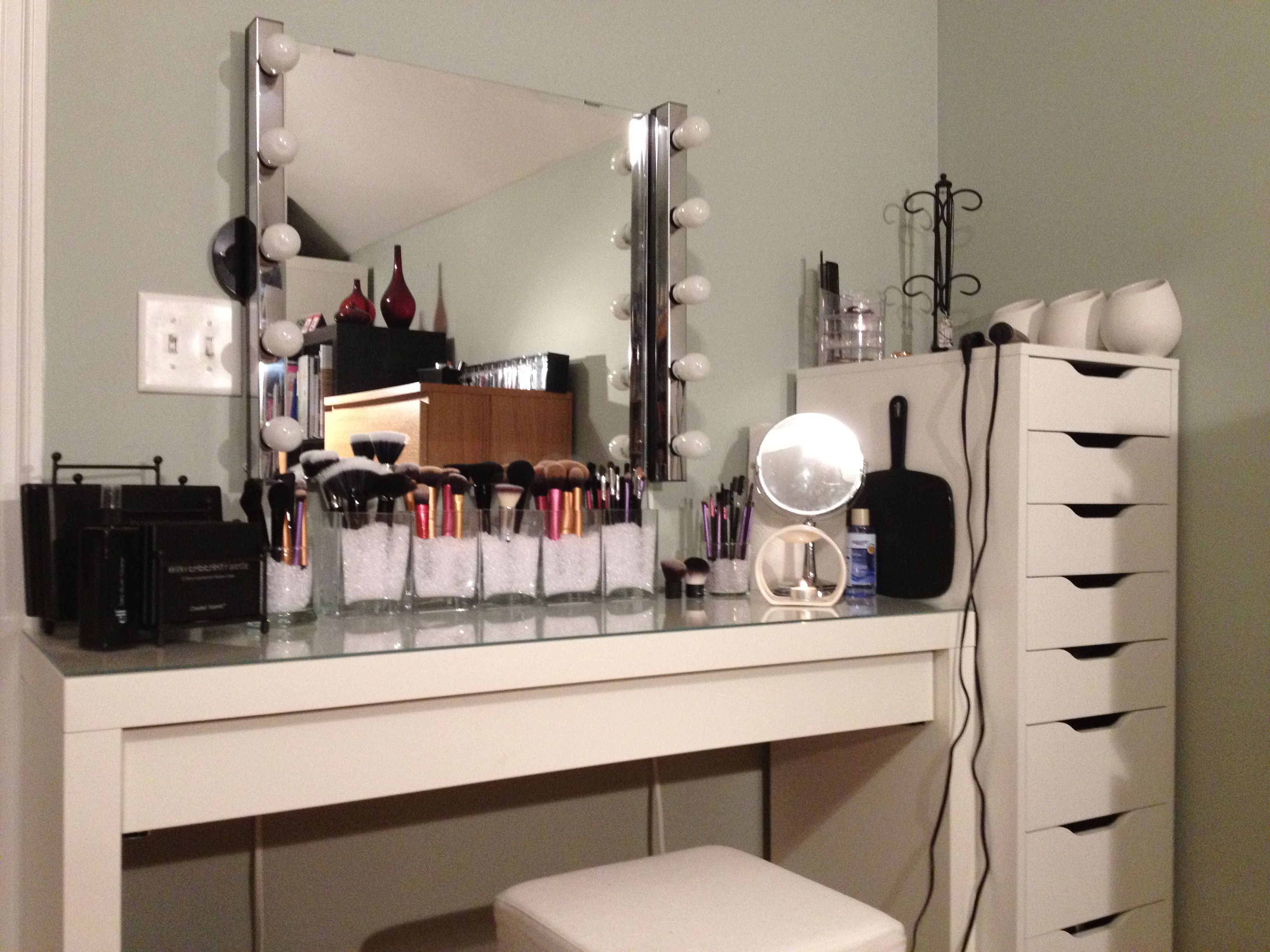 The popular alex unit from ikea paired with the malm for Glass makeup table