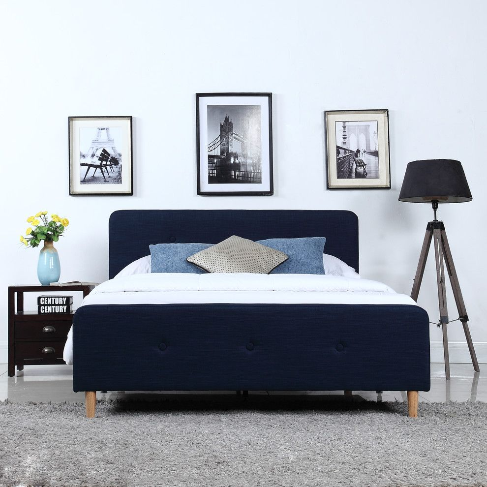 Mid Century Modern Blue Linen Fabric Low Profile Bed Frame