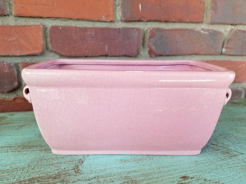 Pink Ceramic Flower Box Pink Decor Pink Planter Rectangular