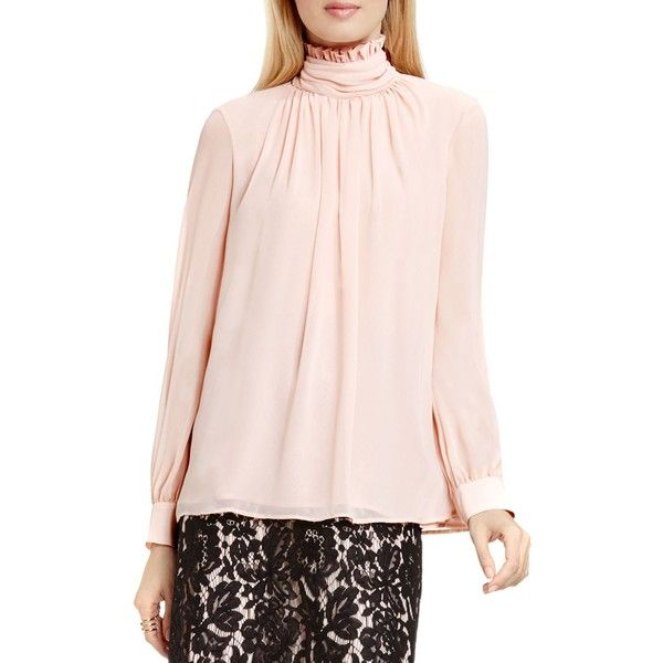 94e208f840d0ae Vince Camuto Ruffle Neck Blouse (705 HRK) ❤ liked on Polyvore featuring tops,  blouses, rosy flush, high collar blouse, ruffle top, vince camuto blouses,  ...