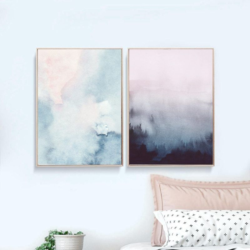 Watercolor Canvas Poster Print Nordic Abstract Art Painting Home Wall Decor