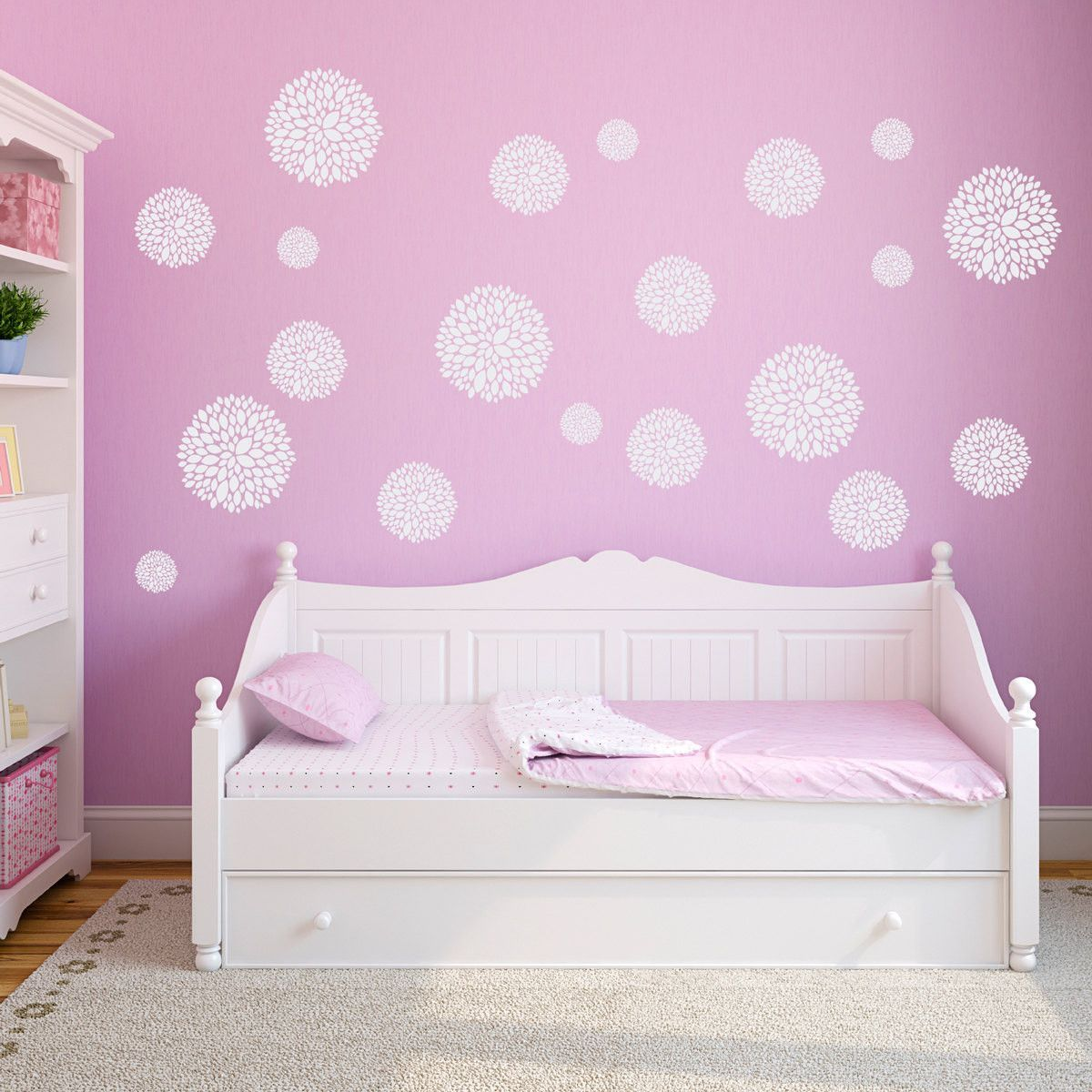 peony flower wall decals set of 20 flowers girls on wall stickers for bedroom id=49772