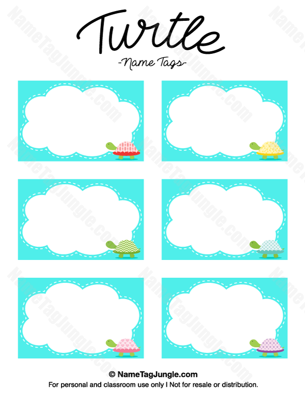 free printable turtle name tags the template can also be used for