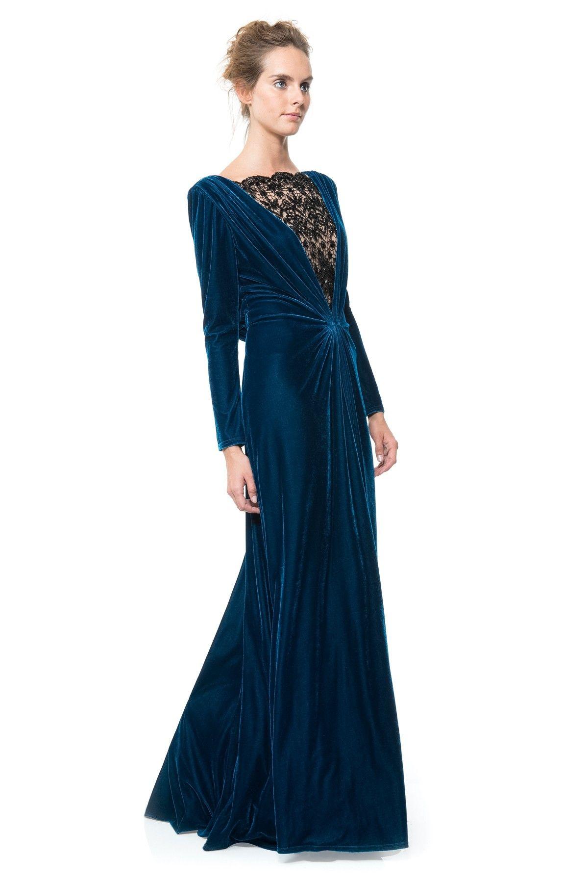 downton abbey inspired style draped velvet gown tadashi shoji vermehrt sch nes. Black Bedroom Furniture Sets. Home Design Ideas