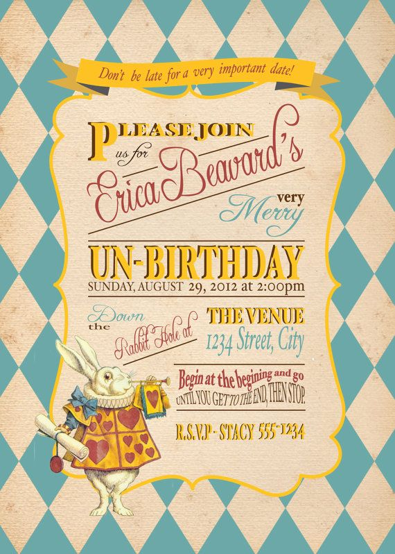 Alice In Wonderland invitations Ana G GBela Bernardo Marquez – Unbirthday Party Invitations