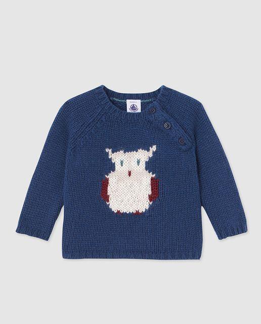 432bd5474 Jersey de bebé niño Petit Bateau en azul con intarsia
