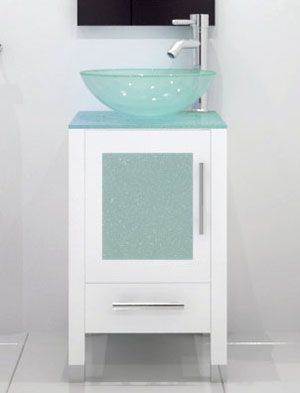 17 75 Soft Focus Single Vessel Sink Vanity Glass White With