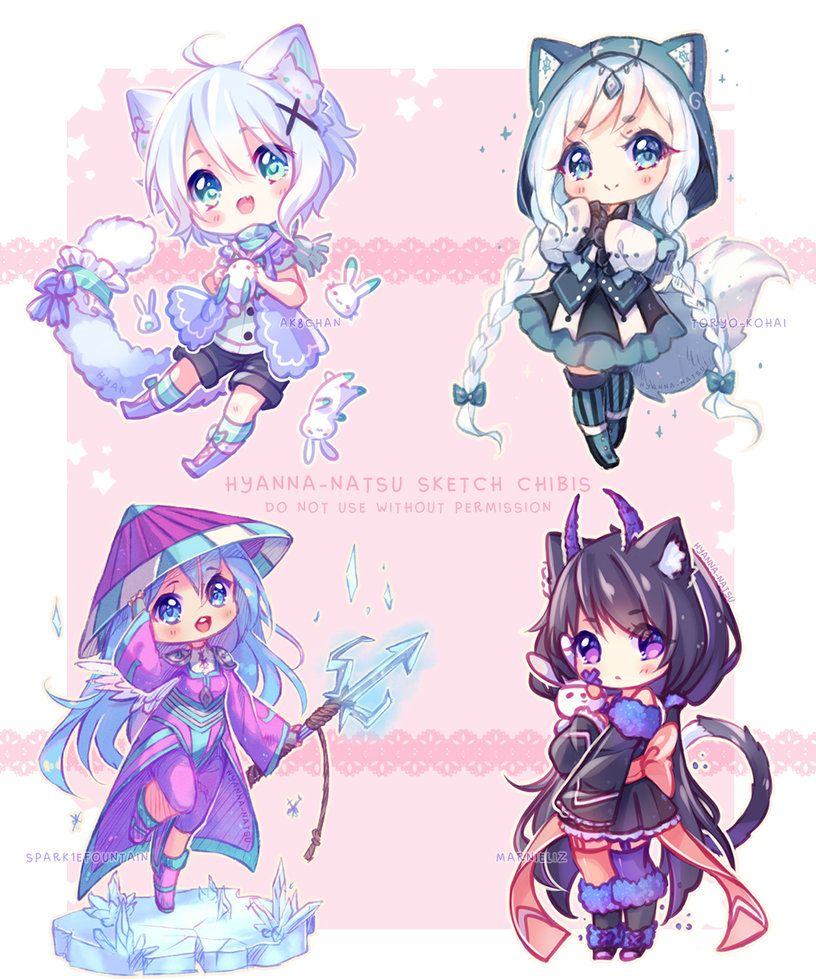 Commission Sketch Chibis February By Hyanna Natsu Cute Anime Chibi Cute Kawaii Drawings Chibi Drawings