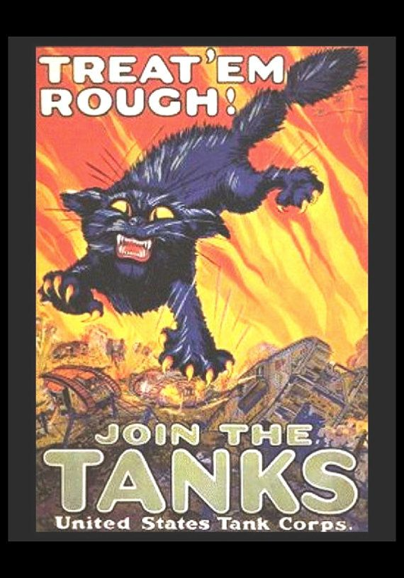 Wwii treat em rough us tank corps armored vehicle black cat 11x14 cotton canvas print wwii treat em by preciousmemoriesone publicscrutiny Image collections