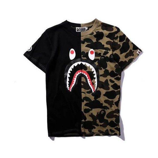 107573d6474bd BAPE Half Camo Shirt ❤ liked on Polyvore featuring tops, camoflauge shirt,  camouflage top, a bathing ape shirt, camo shirt and camo print top