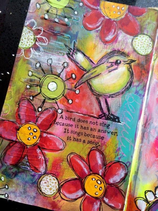 Mixed Media Art Journal A bird sings Tracy Scott for the Simon Says Stamp Blog.