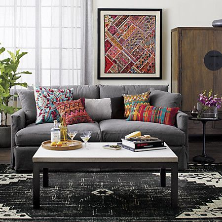 Dark Rug Grey Couch And Pops Of Color With A Modern Southwest