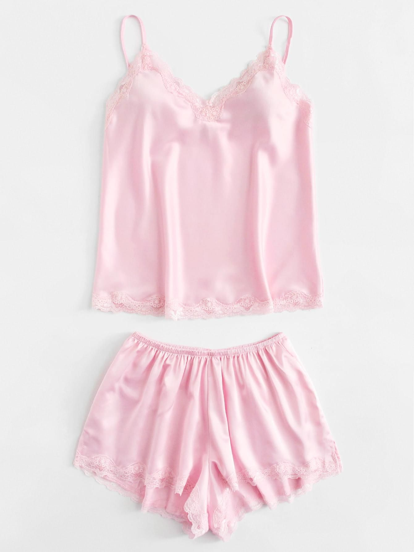 b4ac352b57 #Valentines #AdoreWe #ROMWE - #ROMWE Contrast Lace Satin Cami & Shorts Set  - AdoreWe.com