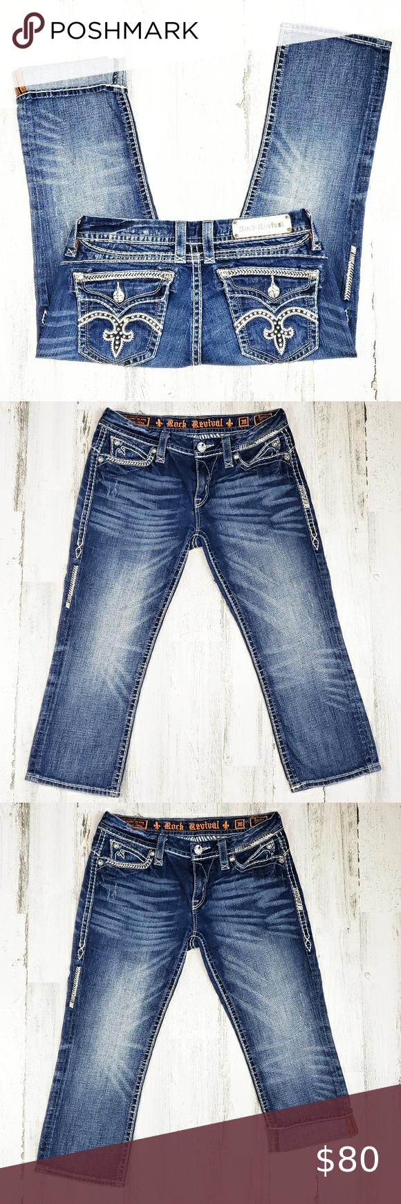 Rock Revival Sasha Capri Jean's.  Size 30. Rock Revival Sasha Capri's Jean's.  Size 30.  Inseam 22