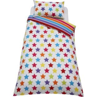 Buy Colourmatch Star And Stripe Duvet Cover Set Single