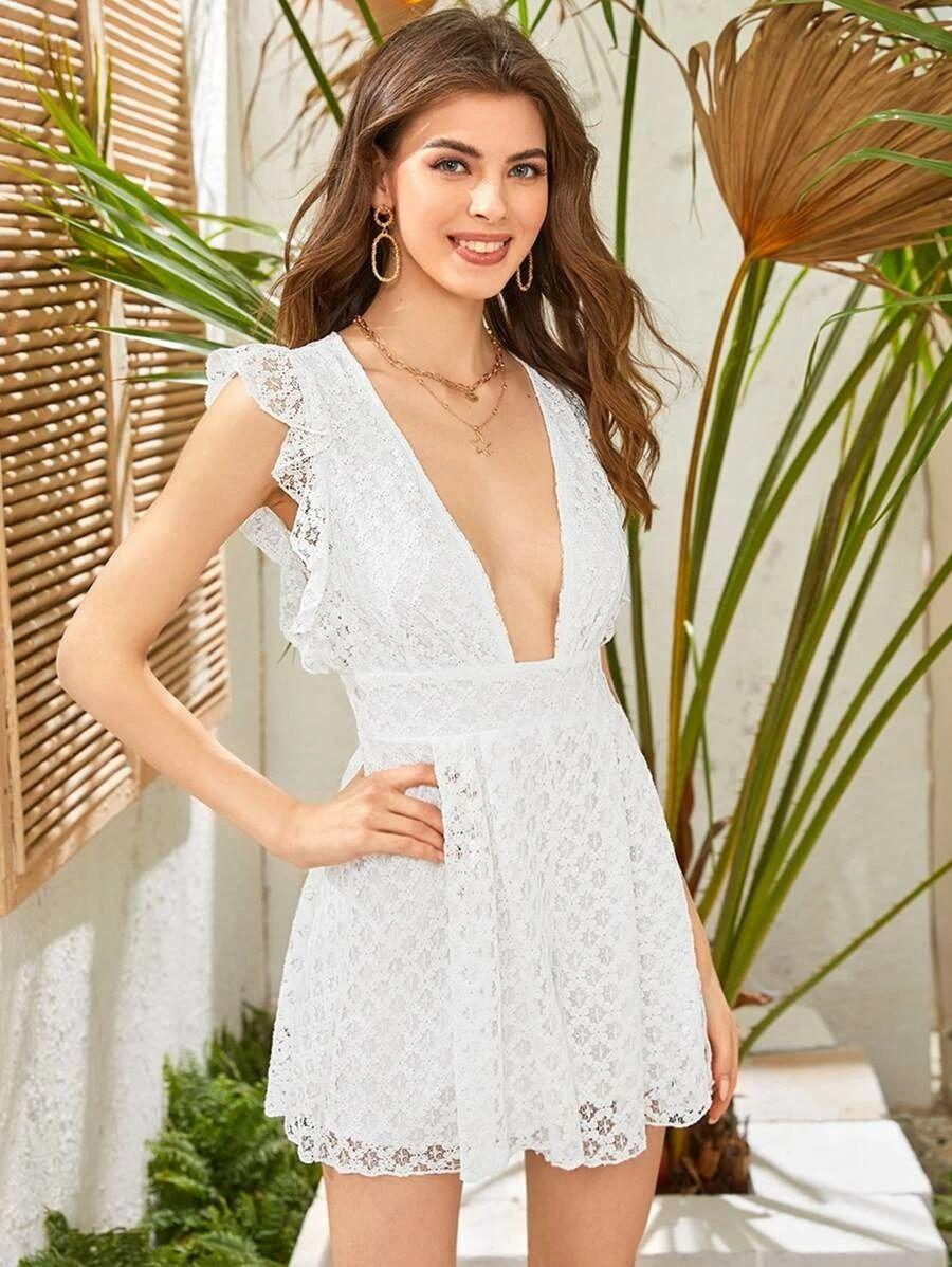 Affiliate Links Plunging Neck Split Back Lace Romper Lace Romper Rompers White Dress [ 1198 x 900 Pixel ]