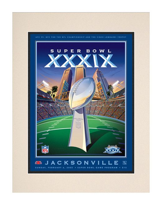 2005 Patriots vs Eagles 10 1/2 x 14 Matted Super Bowl XXXIX Program