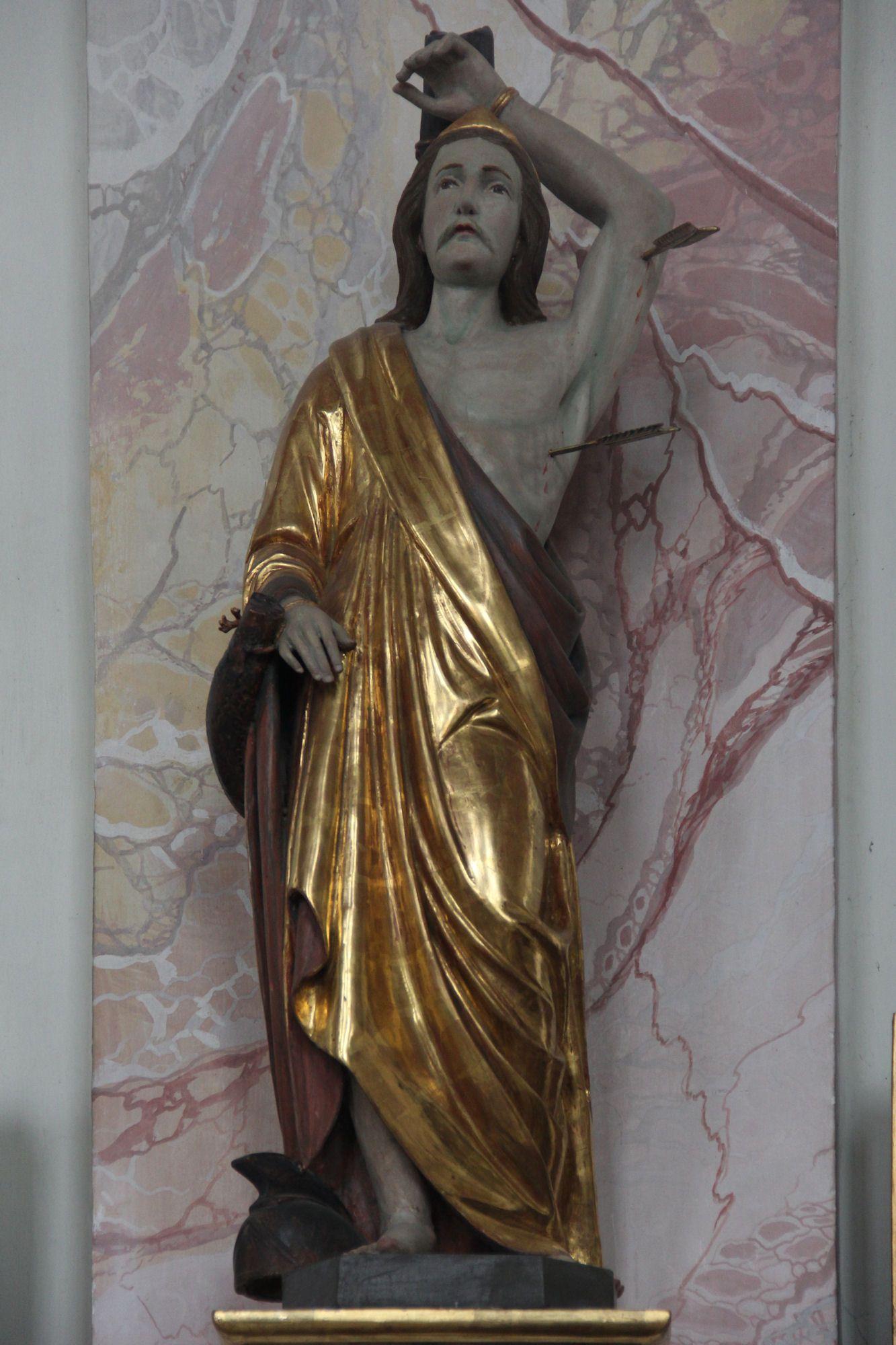Anonyme, Statue des heiligen Sebastian, Romisch-katholische Pfarrkirche St. Peter und Paul in Benningen im Landkreis Unterallgau, Bayern, Duitsland